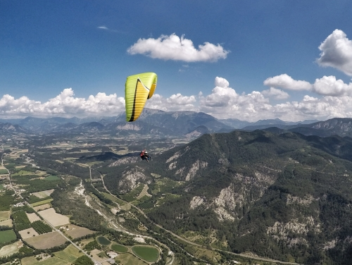 paragliding above drome landscape